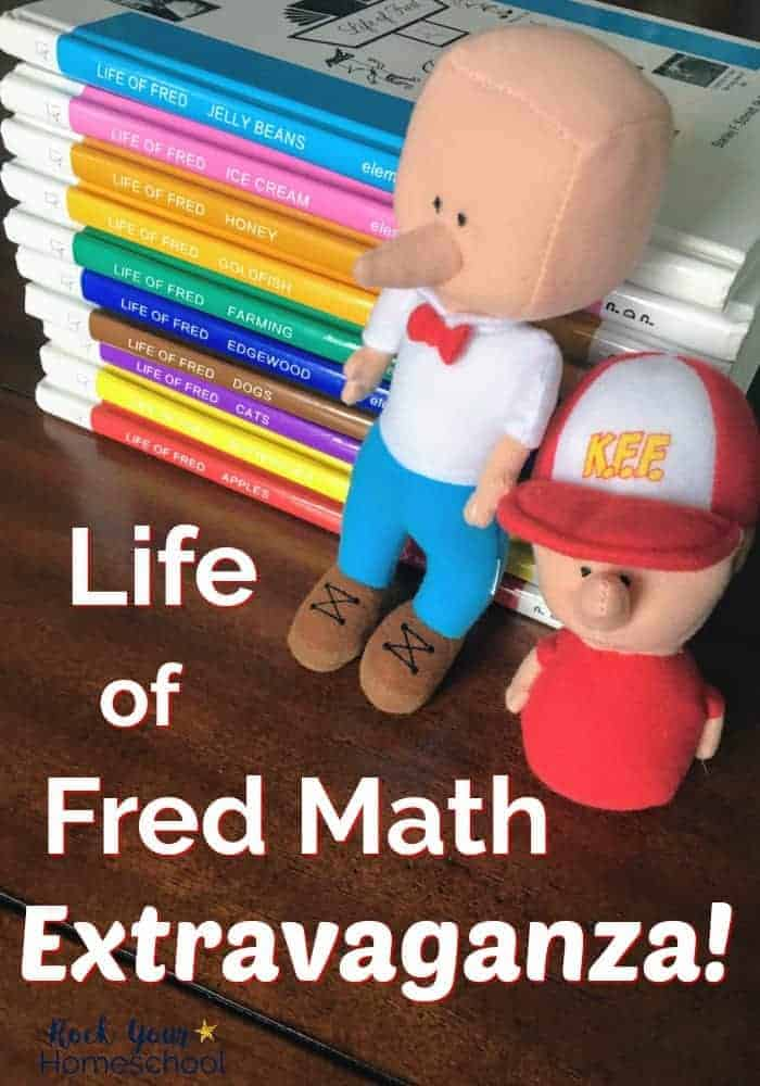 Life of Fred math books & dolls on wood table