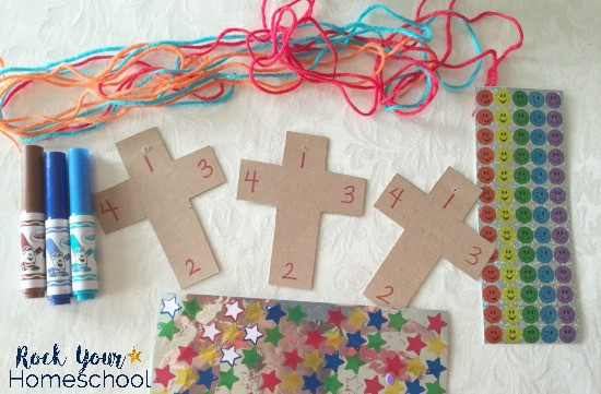 Frugal supplies to use when making this Teach the Sign of the Cross craft.