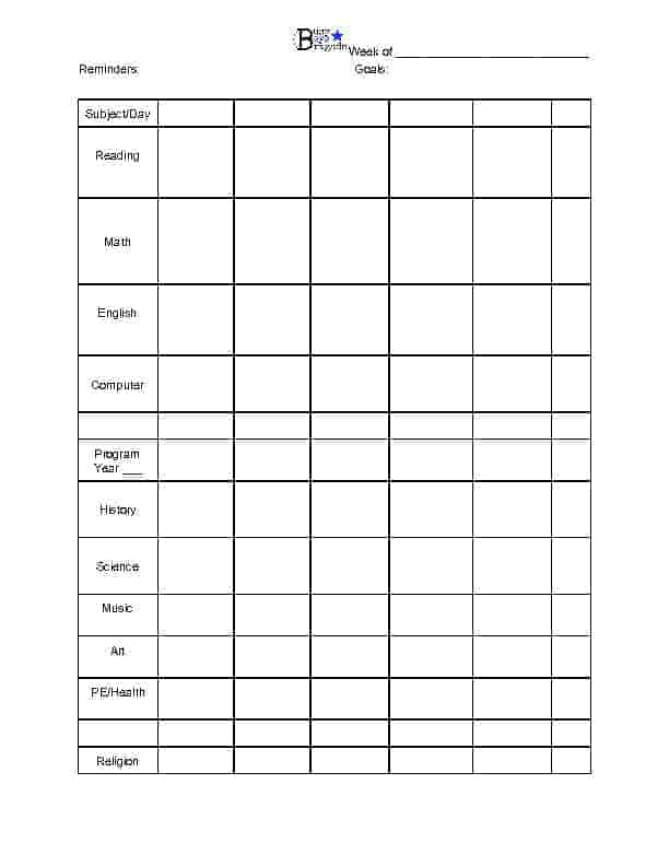 Weekly Individual Planner for Easy Peasy All-In-One Homeschool
