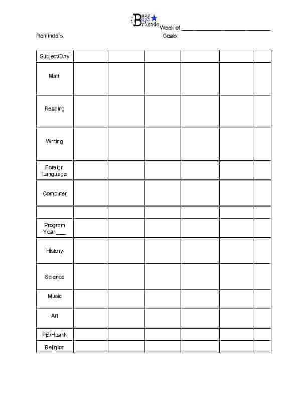 Weekly Individual Planner with Foreign Language for Easy Peasy All-In-One Homeschool