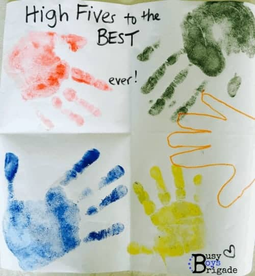 High fives cards using stamps and hand prints for adorable card!