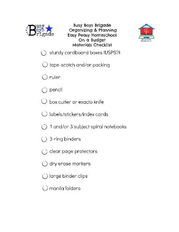 BBB Organize & Plan Easy Peasy Homeschool On a Budget Materials Checklist