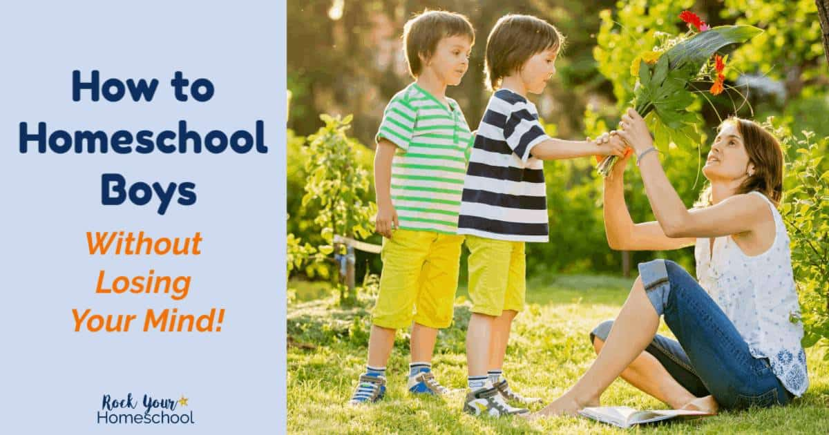 Get tips & tricks for how to homeschool boys without losing your mind. From a homeschool soccer mom to 5 busy boys.