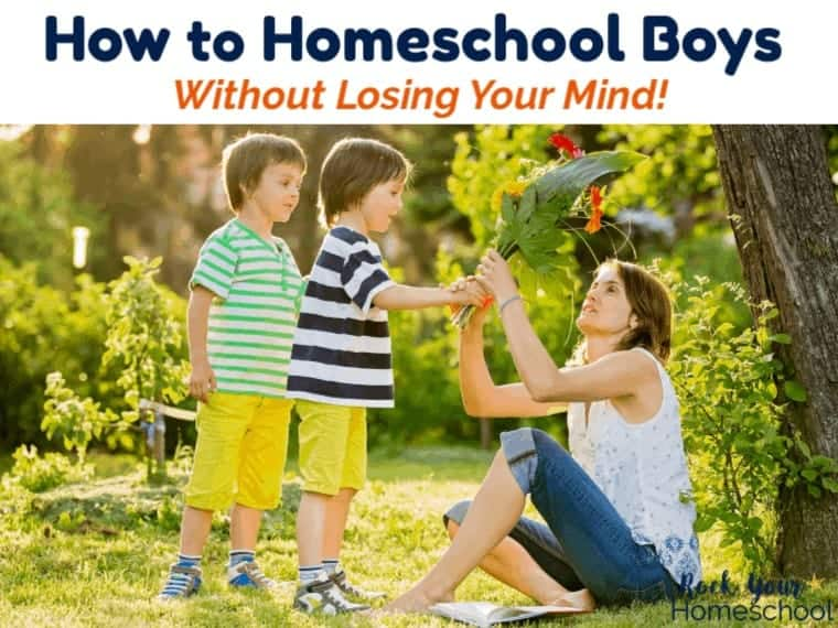 Get tips & tricks from a homeschool soccer mom to 5 boys on how to homeschool boys without losing your mind.