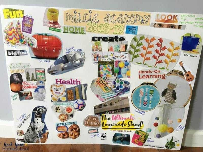 Create a custom homeschool vision board with these ideas & free printable pack.