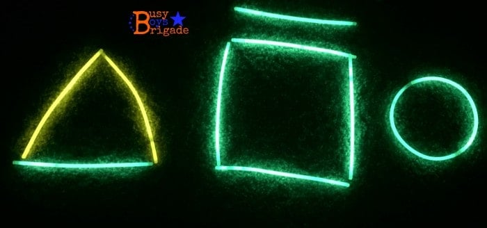 Use glow sticks for a fun way to learn & practice shapes.