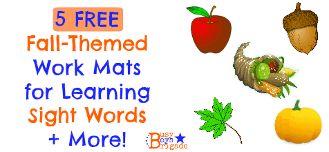 5 FREE Fall-Themed Work Mats for Sight Words (+ more!)