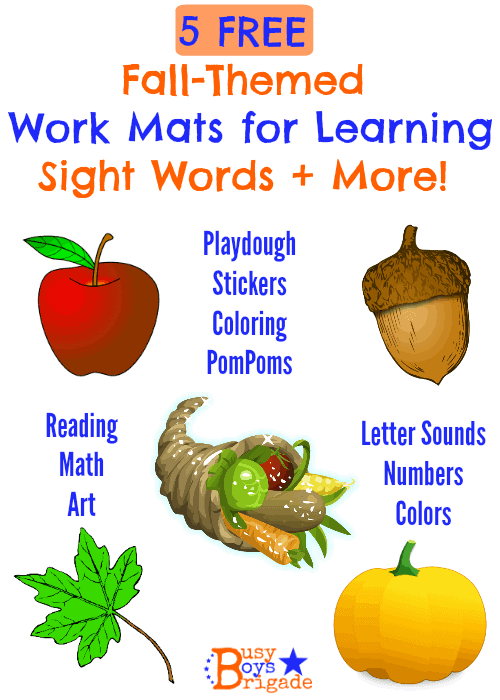 Fall-Themed Sight Words