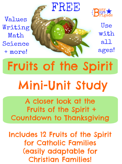 Fruit of the spirit. mini unit study. A thanksgiving celebration on the LFEO Blog Party