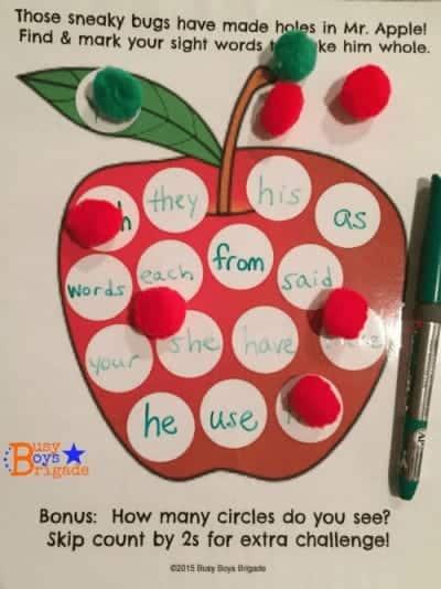 sight words apple