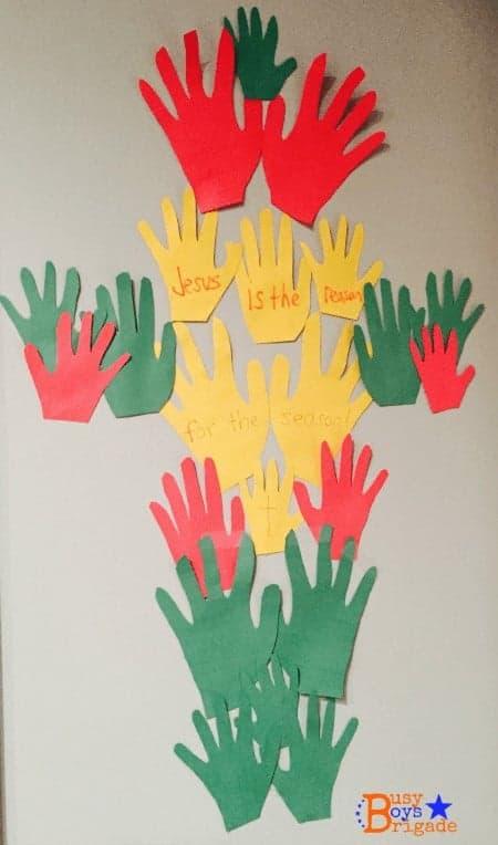 holiday learning fun handprints cross
