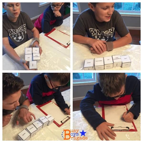 holiday learning fun silly sentences dice