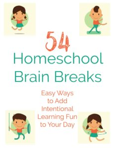 Need help adding intentional learning fun to your homeschool day? Use these FREE printable prompts of homeschool brain breaks!