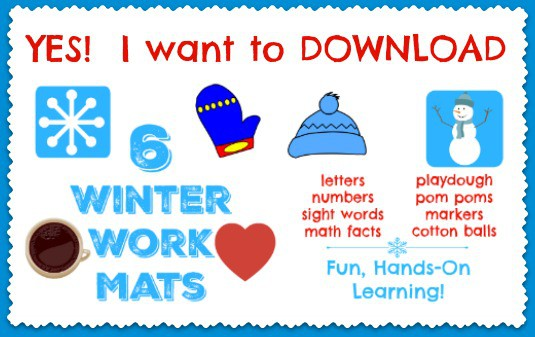 Get your free printable pack of 6 winter work mats for learning fun with your kids.