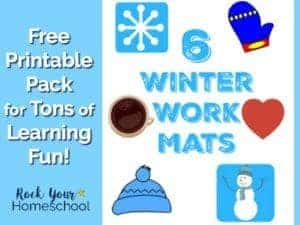 Get your free printable pack of 6 winter work mats for tons of learning fun with your kids.