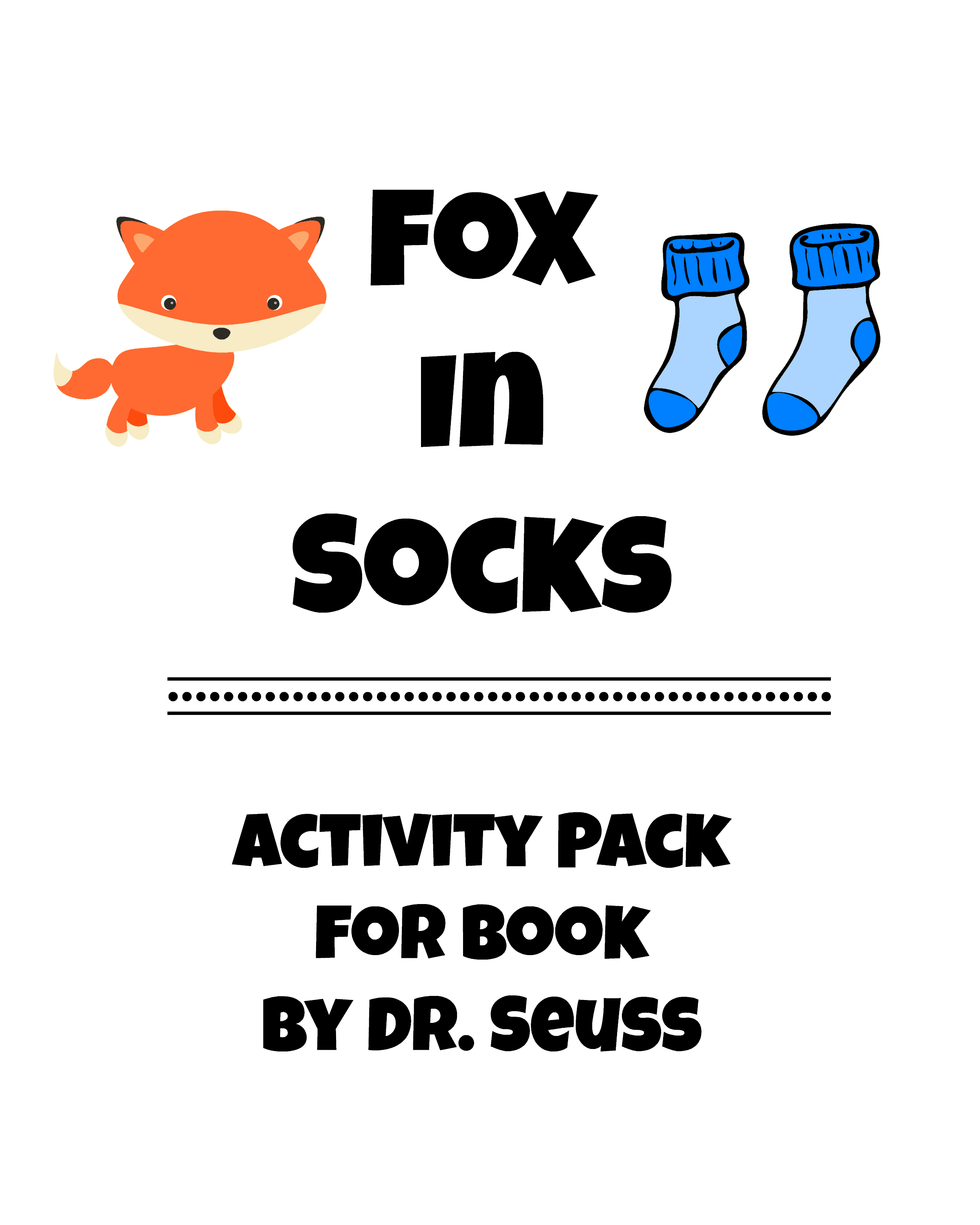 picture regarding Fox in Socks Printable called Fox Within Socks-Dr. Seuss Recreation Pack - Rock Your Homeschool