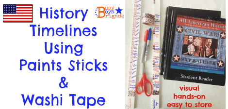 History Timelines Using Paint Sticks & Washi Tape