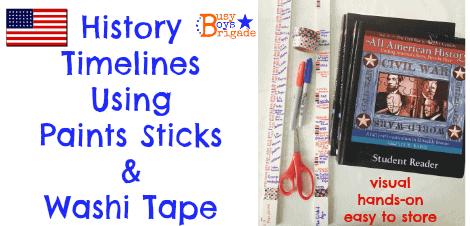 History Timelines Using Paint Sticks & Washi Tape