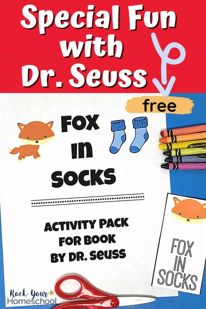 Cover of free printable activity pack of Fox in Socks and creative bookmarks to feature ways to extend the learning fun with this popular Dr. Seuss book