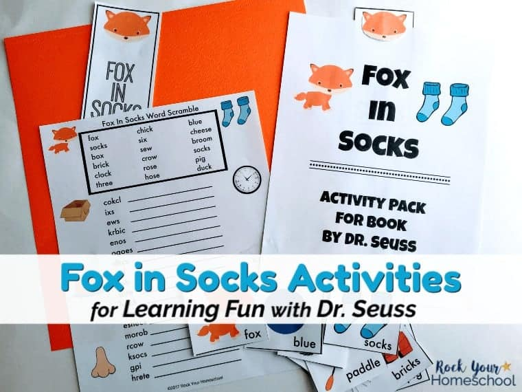 Enjoy some special learning fun with Dr. Seuss! This free printable pack of Fox in Socks activities are fabulous for classroom, library, family, & homeschool.