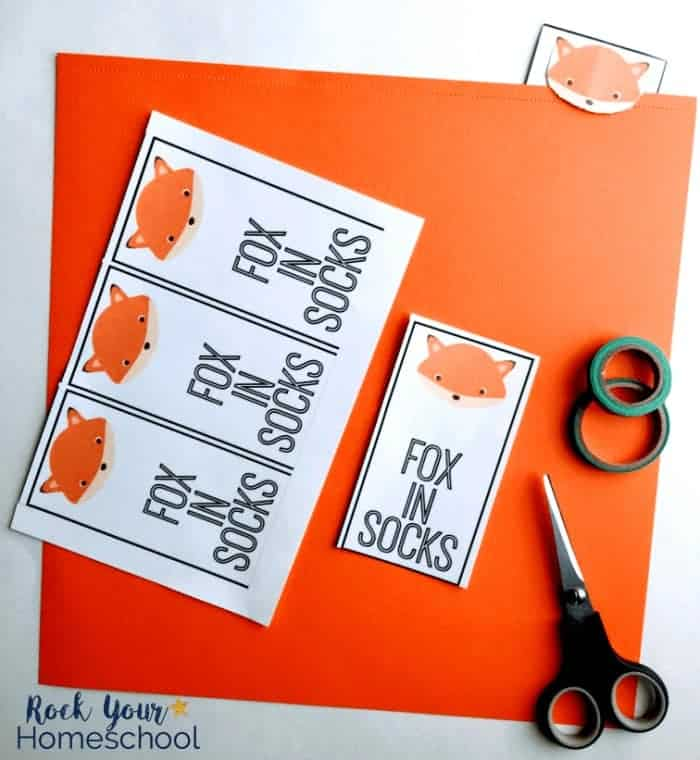 Make fun Fox in Socks bookmarks included in this free printable pack.