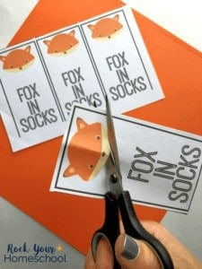 Enjoy making these simple bookmarks with your kids as you extend the learning fun with Fox in Socks by Dr. Seuss.