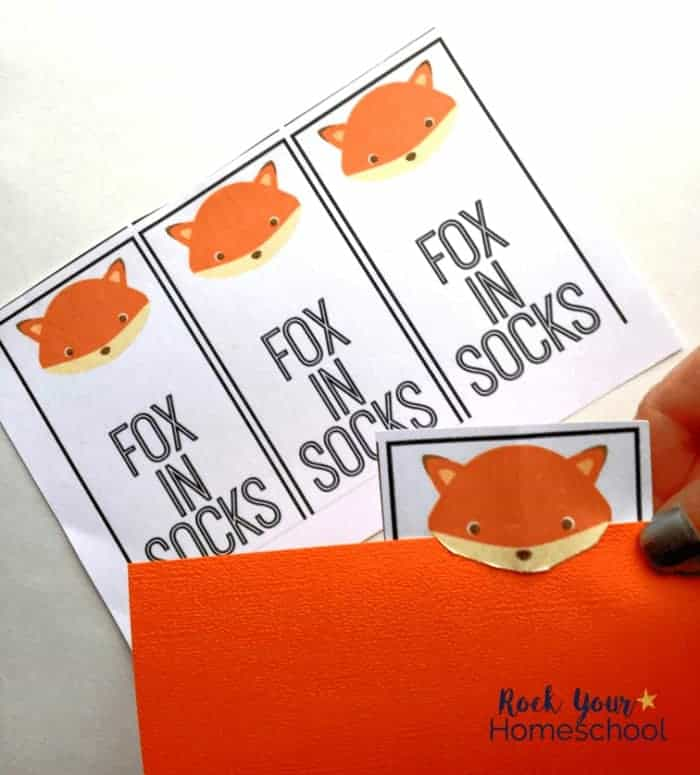 These cute bookmarks are easy activities to enjoy with kids as you extend the learning fun with Fox in Socks.