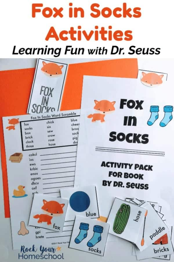 Fox in Socks printable activity pack cover, bookmark, word scramble, & story cards on orange & white background