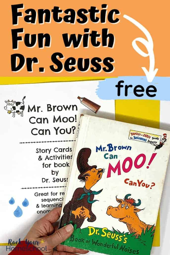 Woman holding Mr. Brown Can Moo! Can You? book with free printable activity pack in the background to feature how much fun you can have with your kids