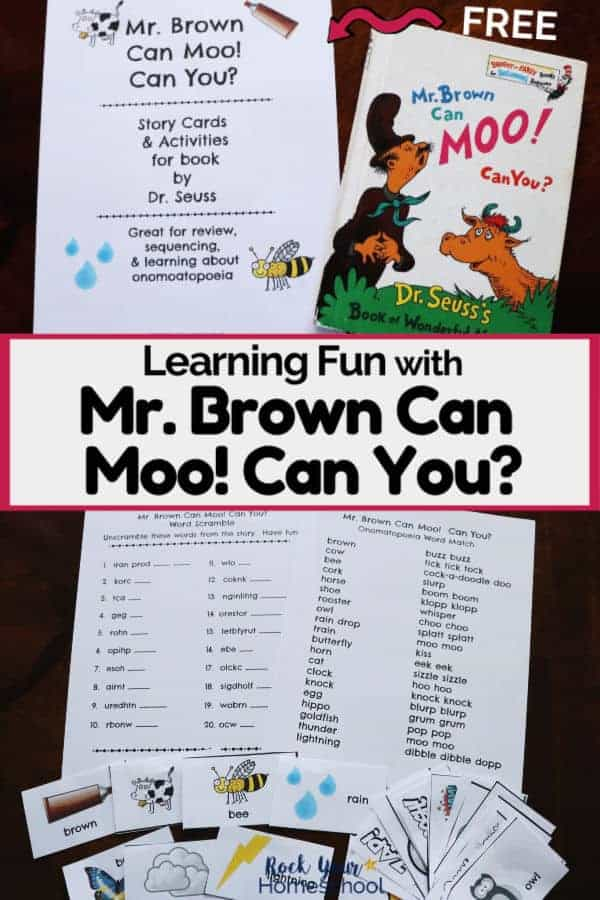 Mr. Brown Can Moo! Can You? by Dr. Seuss activity pack cover with book & free printables to feature great ways to extend the learning fun with this classic book