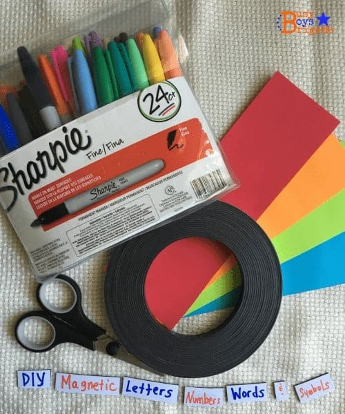 Frugal approach to creating hands-on learning tools for kids. Just a few materials and you can create customized magnetic words, letters, numbers & more!