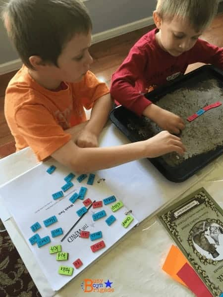 My boys love to use frugal DIY magnetic words, letters, and more for homeschool learning fun.