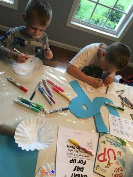 Two fun activities for Great Day for Up by Dr. Seuss. DIY collage and hot air balloon craft.