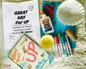 Simple set of materials is all that is needed to complete crafts and activities for Great Day for Up by Dr. Seuss printable pack.