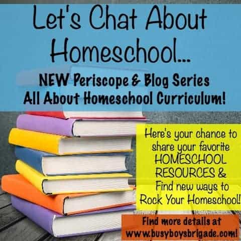 Let's Chat About Homeschool... is a new Periscope & blog series for homeschoolers helping homeschoolers. Favorite homeschool curriculum and resources will be shared in a variety of ways. Great for all homeschoolers-new and experienced!