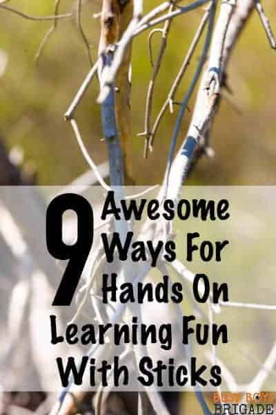 Check out these 9 awesome ways for hands on learning fun with sticks! Kids will love these activities for art, crafts, math, & more!
