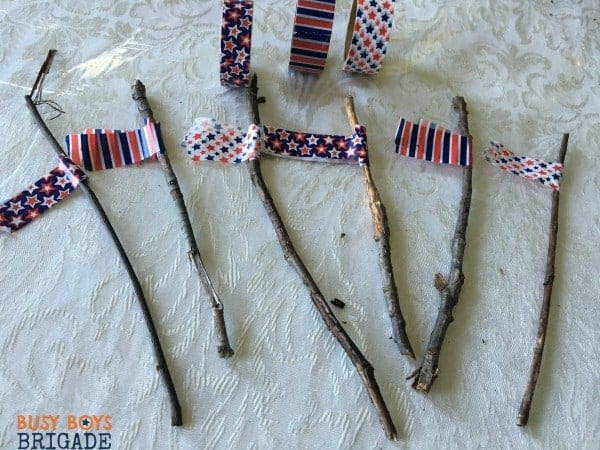 Use washi on sticks for hands on learning fun like patterns in math.