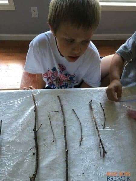 Hands on learning fun with sticks! Use them for math like activities for patterns.