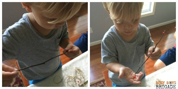 Even toddlers can have hands on learning fun with sticks!