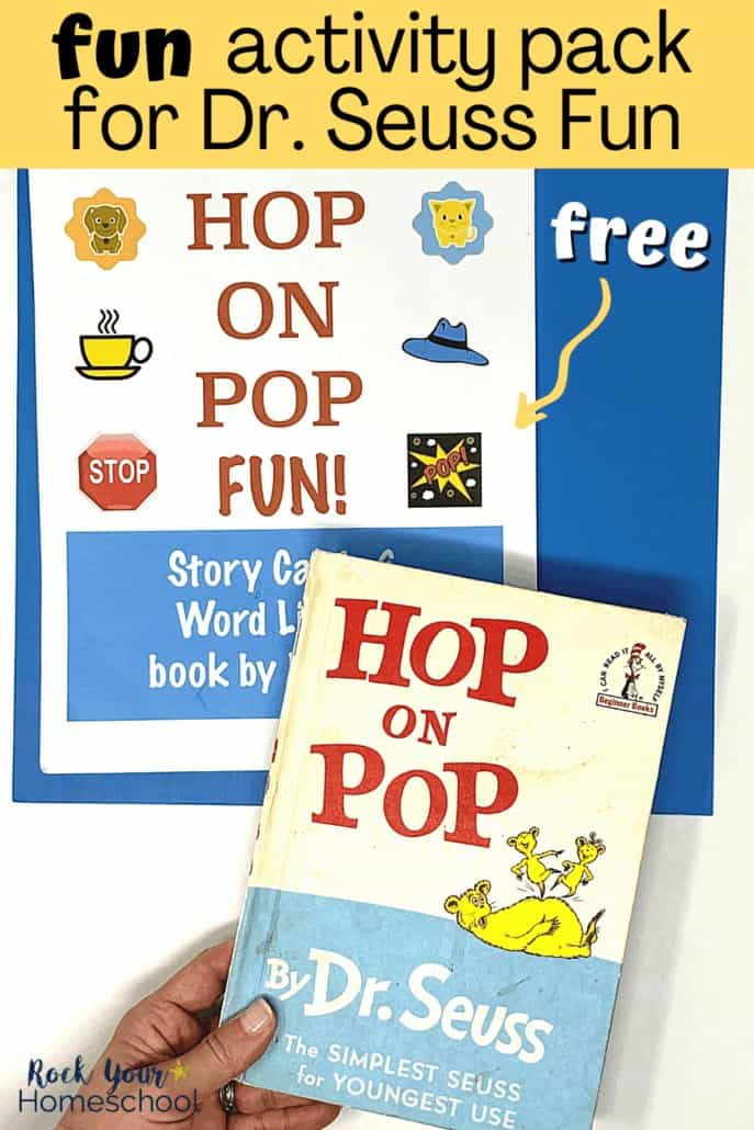 Woman holding Hop on Pop book by Dr. Seuss with cover of free activity pack in background to feature the learning fun your kids will have
