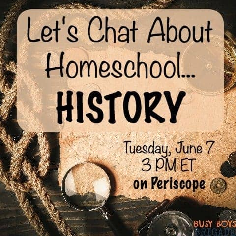 Let's chat about homeschool history is part of a Periscope and blog series for homeschoolers helping homeschoolers with curriculum selection.