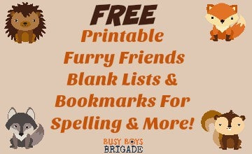 Free Printable Furry Friends Blank Lists & Bookmarks