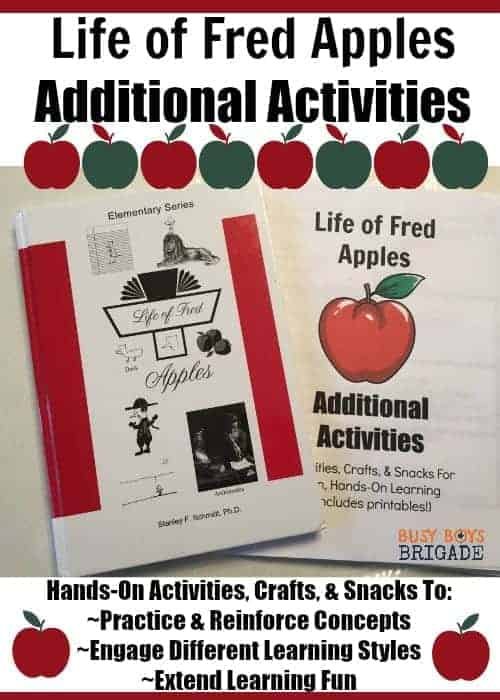 """Do you use Life of Fred Elementary Math with your kids? Or want to but not sure if it's """"enough"""" or how to do more? Life of Fred Apples Additional Activities includes hands-on activities, crafts, & snacks for each chapter! Extend learning fun with Fred while reinforcing concepts."""