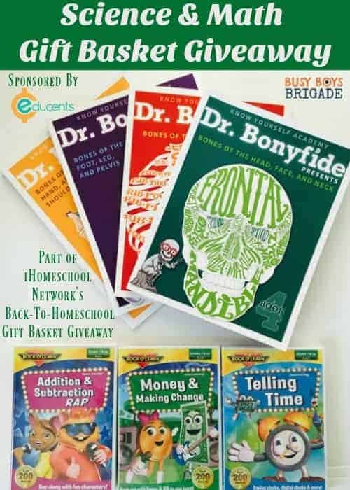 Science & Math Gift Basket Giveaway is valued at over $130! Enter now for your chance to win 4 Dr. Bonyfide Presents science books + 3 Rock 'N Learn Early Math DVDs. These resources are fantastic ways to help your kids learn & practice important educational concepts. Giveaway is sponsored by Educents. This giveaway is part of iHomeschool Network's Back-To-Homeschool Gift Basket Giveaway.