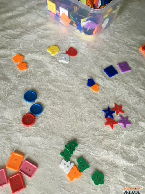 Use buttons for hands-on learning fun for teaching & practicing sorting.