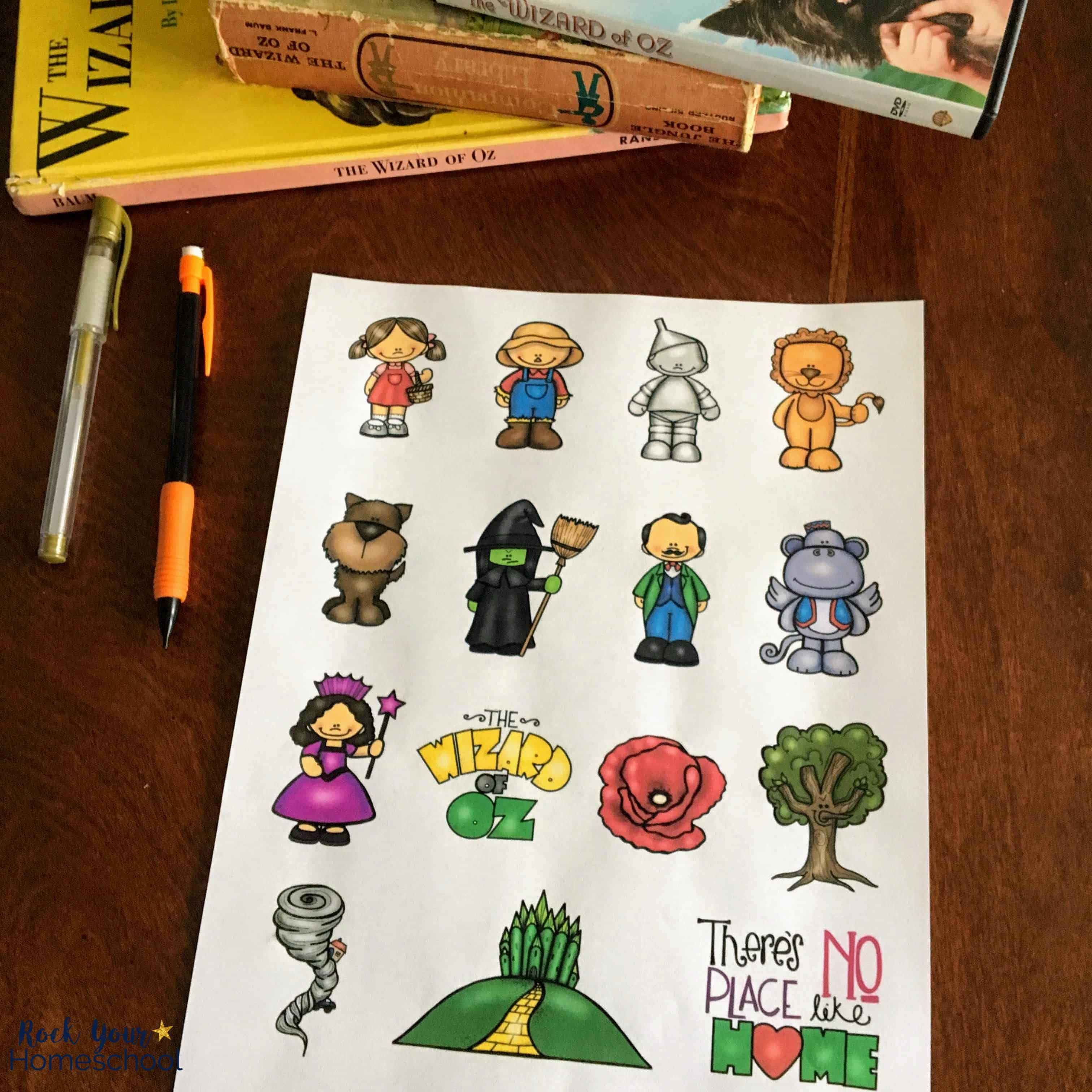 You can use these free printable characters as delightful storytime props for Wizard of Oz Learning Fun.