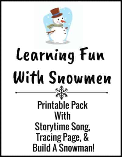 Here is a free printable pack to add to the learning fun with this easy snowman craft.