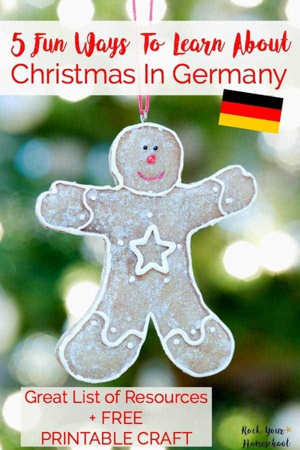 gingerbread ornament with Christmas tree & lights in background plus German flag