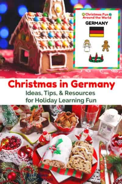 Gingerbread house on red table and German Christmas food display with stollen & gingergread and Christmas Fun in German cover
