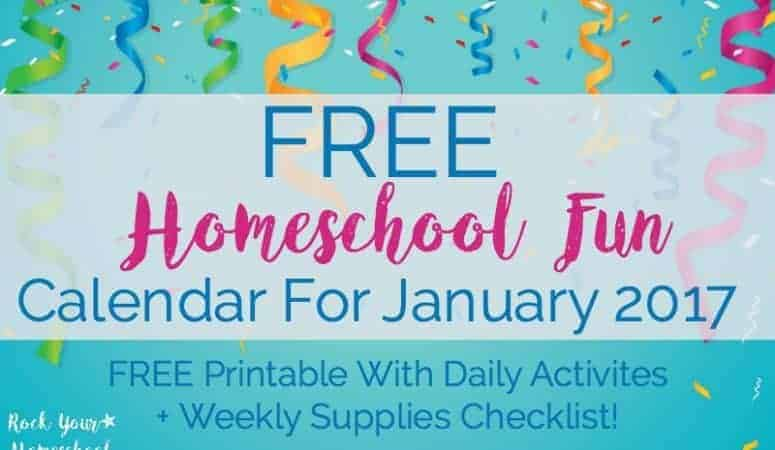 Free Homeschool Fun Calendar For January 2017